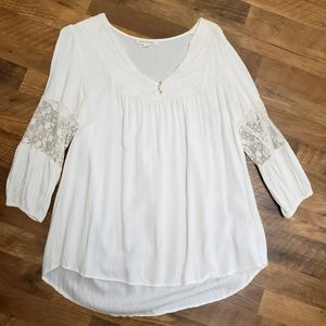 Painted Threads 100% Rayon Blouse White Size Large